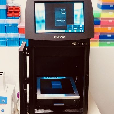 The E-Box is a secure enclosure that emits UV radiation. It therefore makes it possible to reveal the DNA following its migration on agarose gel.