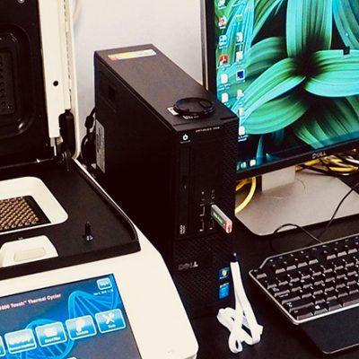 Real-time PCR ou thermocycleur en temps réel : Permet, entre-autre, de quantifier l'ADN d'un spécimen spécifique présent dans un mélange d'ADN.