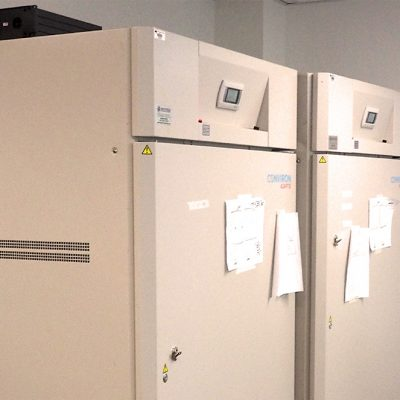 Deux chambres de croissance où la lumière, le taux d'humidité et la température peuvent être régulés de façon précise.